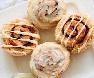 food, breakfast, and cinnamon roll image