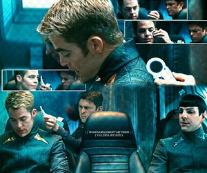 chris pine, spock, and zachary quinto image