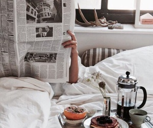 breakfast, bed, and morning image