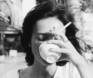 coffee, cigarette, and black and white image