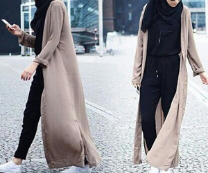 black, hijab style, and clothes image