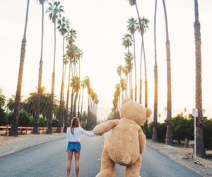 girl, bear, and summer image