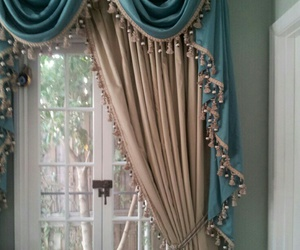 blue, curtains, and rose gold image