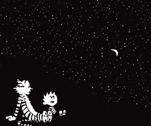 black and white, stars, and calvin and hobbes image
