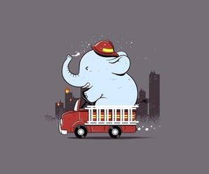 cartoon, elephant, and firefighter image