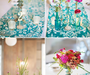 blue, bouquets, and bright pink image