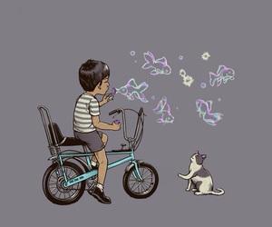bike, fish, and bubble image