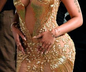 nicki minaj, dress, and gold image