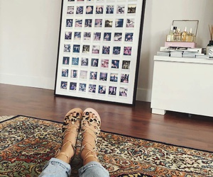 boho decor, colorful rugs, and light blue ripped jeans image
