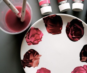 art, red, and paint image