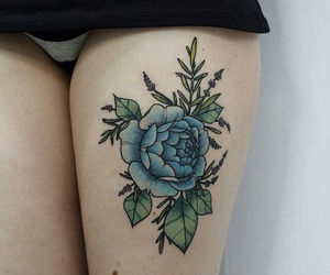 tattoo, flowers, and blue image