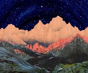 mountains, stars, and art image