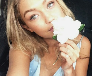 gigi hadid, model, and flowers image