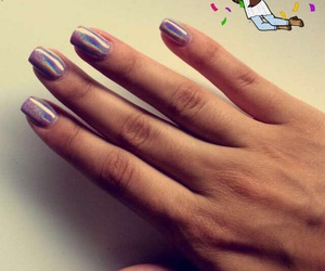 nails, rainbow, and rose image