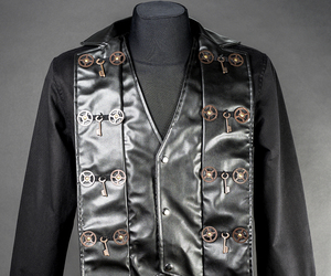faux leather, jacket, and steampunk image