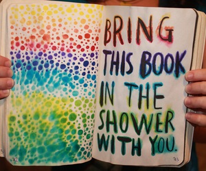book, shower, and art image