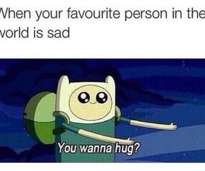 hug, sad, and adventure time image
