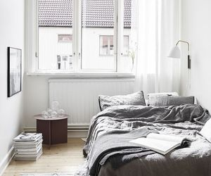bedroom, home, and gray image