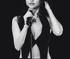 beauty, black and white, and selena gomez image
