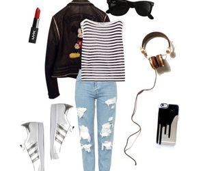 adidas, clothes, and leather jacket image