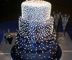 cake, blue, and wedding cake image