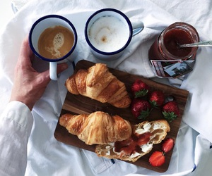 breakfast, strawberry, and coffee image