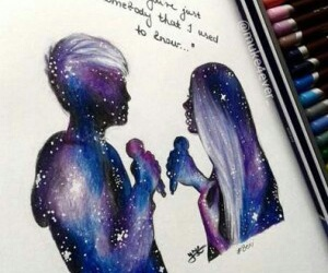 art, galaxy, and love image