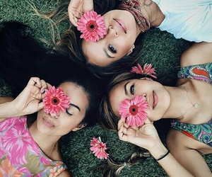 friends, flowers, and girls image