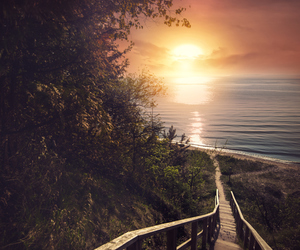 sunset and stairs image