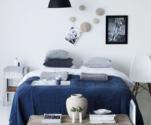 bedroom, blue, and gray image
