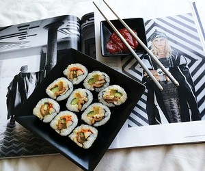 food, sushi, and magazine image