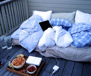 bed, food, and home image