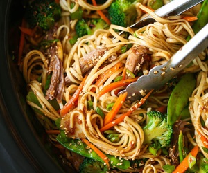 food, noodles, and wok image