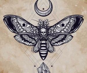 tattoo, moth, and moon image
