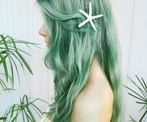 hair, green, and mermaid image