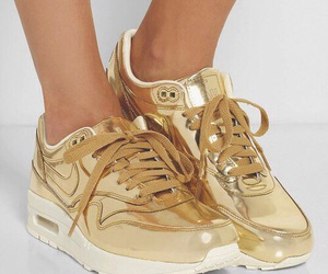 nike, gold, and shoes image