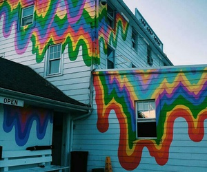 rainbow, house, and grunge image