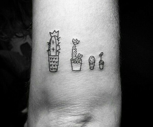 tattoo, cactus, and black image