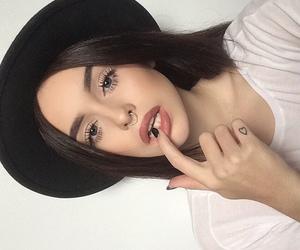 black nails, style, and blue eyes image