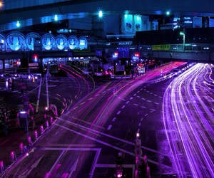 city, neon, and purple image