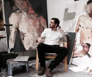 art, man, and painting image