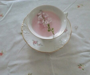 pink, tea, and flowers image