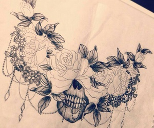 calavera, flores, and tatto image