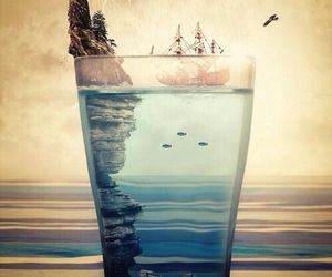 ocean, glass, and sea image