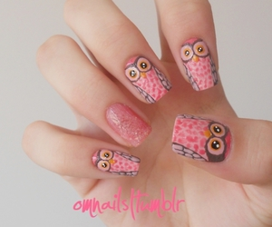 nails, owl, and pink image