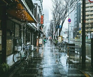 japan, rain, and street image