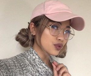 girl, cap, and glasses image