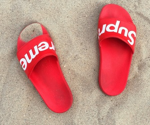 beach, red, and shoes image