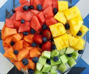 fruit, melon, and pineapple image