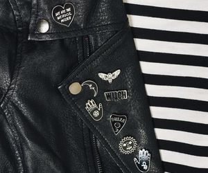jacket, leather, and witch image